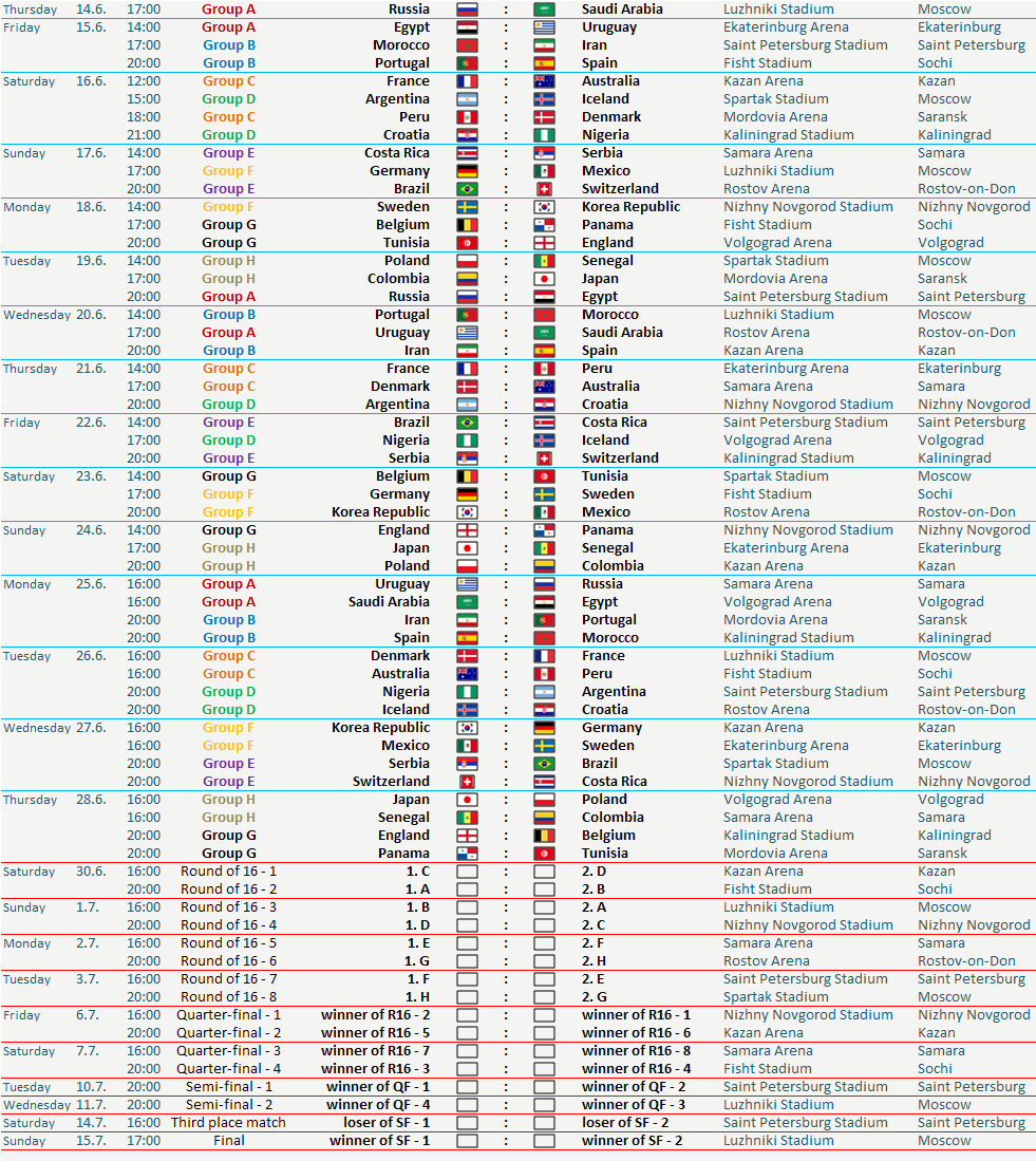 World cup fixtures, russia, world cup 2018, world cup